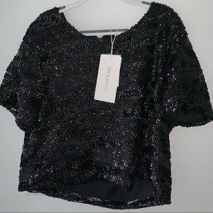 lucy paris black sequined crop top